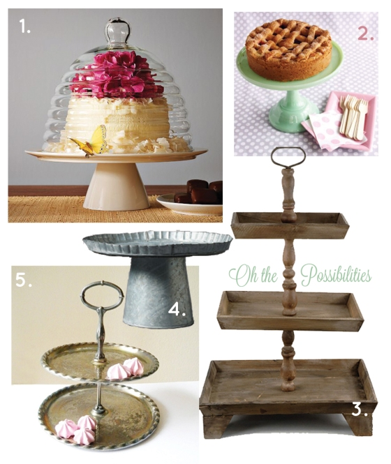 So many styles of cake stands!
